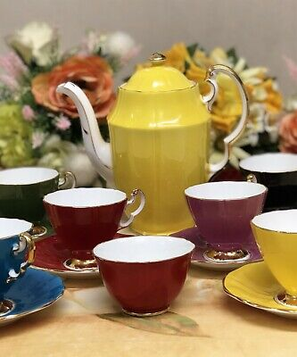 Adderley Bone China 6 Cups & Saucers - Harlequin Colours Coffee Set Small Cup • 125£