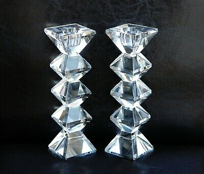 Contemporary Crystal Candlesticks Candle Holders Set Of 2 • 19.50£
