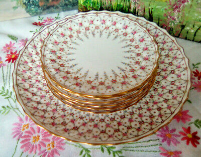 T Goode Copeland Spode Dainty Pink Floral Cake Plate Set Cake Plate 6 Tea Plates • 85£