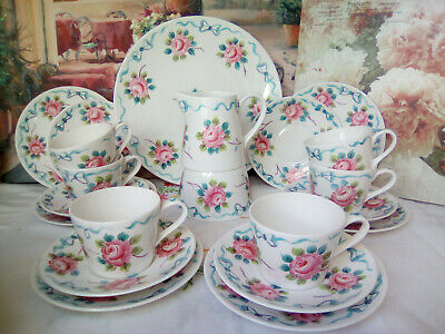 Rare Hand Painted Ribbons & Roses Pink & Blue China Tea Set 21 Piece Tea Service • 160£