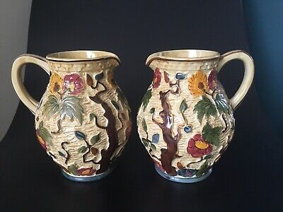 Pair 2 Large Vintage Jugs Pitchers HJ Wood Indian Tree 585 Hand Painted Pitchers • 40£