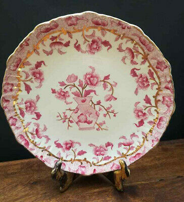 Vintage Poonah Pink And Gold Plate Registered Design 88386 19th Century Poonah • 18£