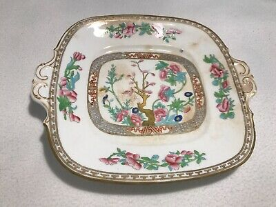 Indian Tree Handpainted Footed Double Handled Dish Plate Server. Gilt Decoration • 3.80£