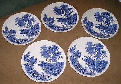 5 Vintage Swinnertons Blue And White Ironstone Side Plates The Ferry • 3£