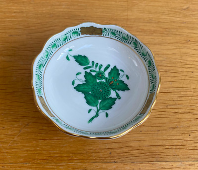 Herend Hungary Chinese Bouquet Green Leaves Flower Porcelain Dish • 14.95£