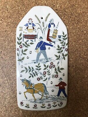 Large Figgjo Flint Hanging Wall Plaque Norge Norway - Hand Painted Silkscreen - • 40£