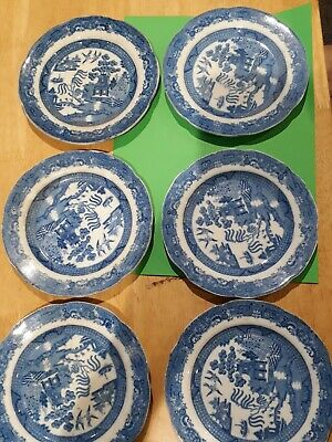 Set Of 6 Antique Blue And White Pattern 6  Plates With Impressed Diamond • 5.50£