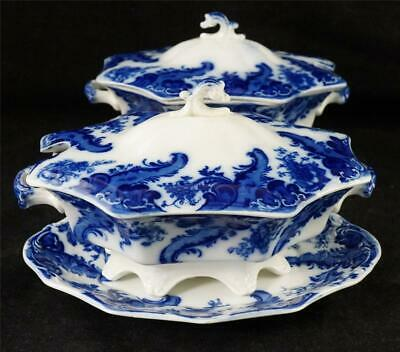 Pair Antique Flow Blue Wh Grindley Argyle Pattern Sauce Tureens Covers & Stands • 249.99£