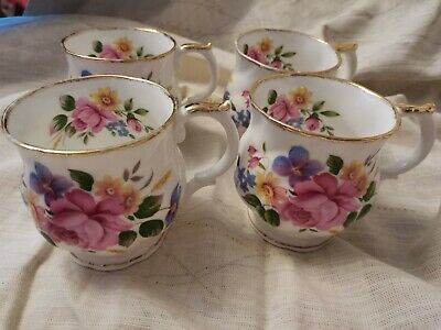 Queens Churchill Brand Fine Bone China Floral Mugs Cups X4  Good Used Condition • 10.50£