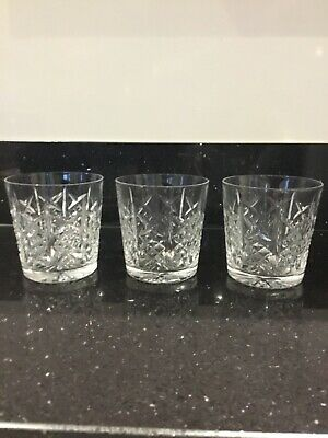 3 Lead Crystal Whiskey Glasses / Tumblers , Height 8cm • 6£