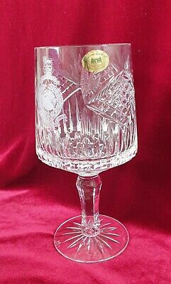 Tyrone Crystal Large Lead Crystal Cut Glass Etched 'Gibraltar' Goblet Perfect • 26£