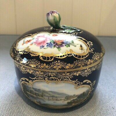 C1880 MEISSEN BLUE GROUND/GILDED SUGAR BOWL & COVER, NAMED VIEW PILLNITZ/FLORALS • 82£