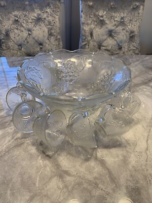 Vintage Punch Bowl With Grape Design And Hanging Glasses • 41£