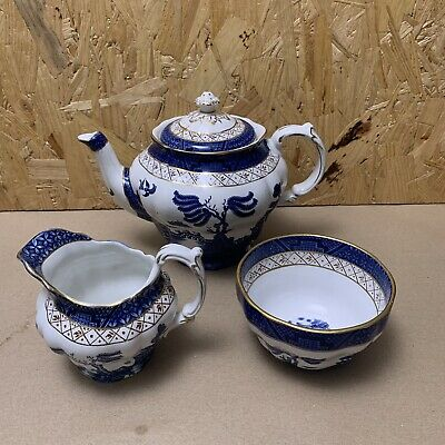 Vintage Booths Real Old Willow Teapot, Tea Pot, Milk Jug & Sugar Bowl • 77£