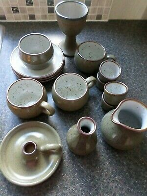 15 Piece Collection Of Purbeck Pottery - Cups, Saucers Milk Jug, Sugar Bowl Etc • 23£