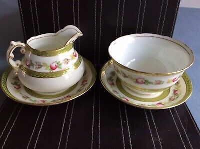 Hammersley Bone China Milk Jug & Sugar Bowl With Saucers Pattern E1112 • 5.50£