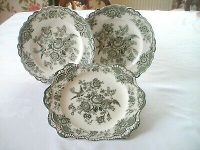 Crown Ducal 'Bristol' Sage Green Plates - Price Is For All 3 • 10£