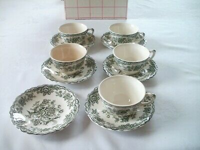 Crown Ducal 'Bristol' 5 Tea Cups And 6 Saucers - Sage Green • 10£