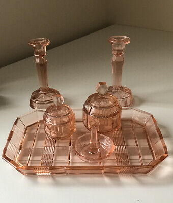 Art Deco Glass Dressing Table Set. Pink Orange. Candlesticks Trinkets Tray Ring  • 45£