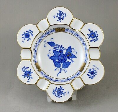 Herend Porcelain Chinese Bouquet Apponyi Blue Ab Large Ashtray Mint • 50£