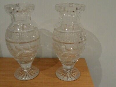 Large Crystal Cut Glass Vases • 25£
