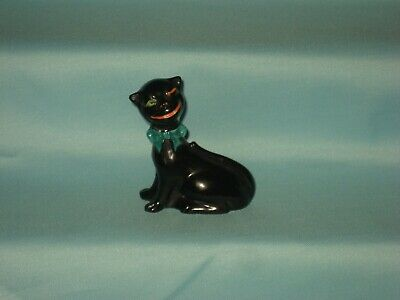 Goss England - Black Cheshire Cat With Green Bow - Believed Unique • 79.99£