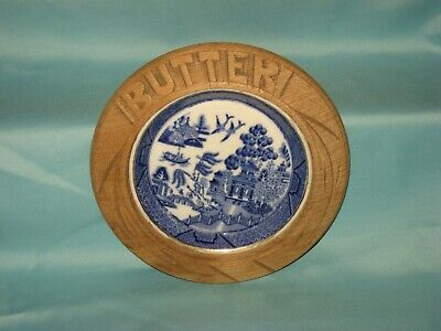 Goss Butter Dish With Wooden Surround - Willow Pattern Design - 155 Mm Dia. • 13.99£