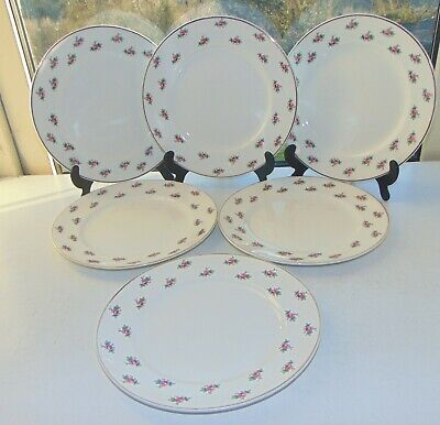 Bristol Pottery Pountney & Co 6 X Luncheon Plates Pink Rosebuds 23cm C1950s • 18£