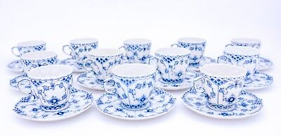 12 Cups & Saucers #1035 - Blue Fluted Royal Copenhagen Full Lace - 1:st Quality • 0.73£