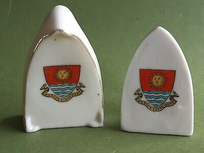 Model Of A Flat Iron & Stand (unmarked) - Weston Super Mare - Crested China • 12.99£