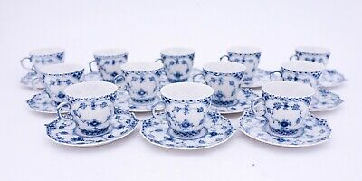 12 Cups & Saucers #1038 - Blue Fluted Royal Copenhagen - Full Lace -1:st Quality • 0.92£