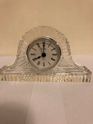 Lovely Tyrone Glass Crystal Quartz Mantle Clock. 11cm Tall • 4£
