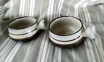 Two French Vintage Pottery Bowls With Handles • 11£