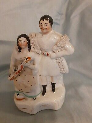 Rare Early Antique 19th Centary Staffordshire Flatback Make & Female Playing... • 5£
