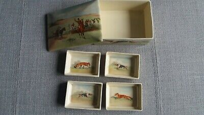Royal Doulton Fox Hunting - Cigarette / Trinket Box With 4 Dishes  RARE - #1 • 500£