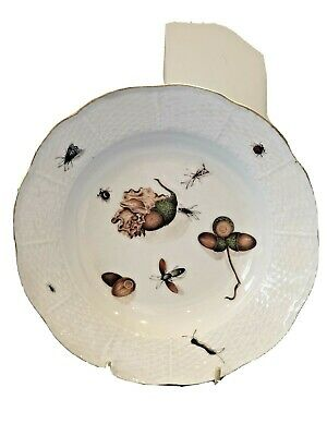 C1750 STUNNING MEISSEN PORCELAIN PLATE, PAINTED NUTS & INSECTS, X SWORDS MK VGC • 6.50£