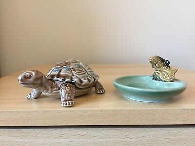 Vintage Wade Tortiose Trinket Dish - Removable Lid/Shell & Trout Whimtray VGC • 4.70£