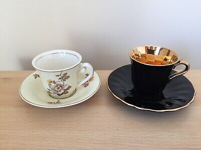 Rare Vintage Wade: 2 Cups & Saucers - Black & Gold, Cream/White With Flowers VGC • 5£