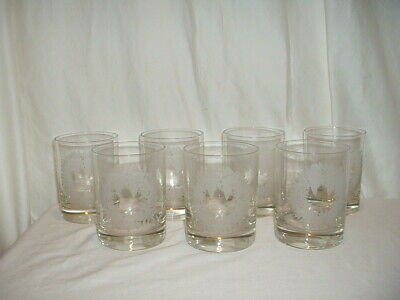 7 Neiman Marcus Etched Christmas Wreath Double Old Fashioned Glasses • 29.31£