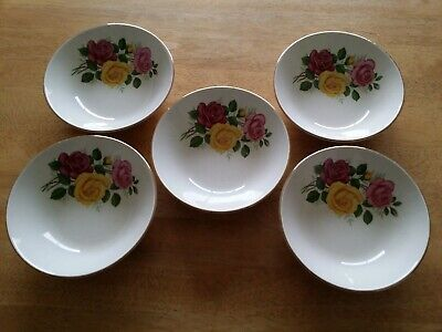 5 Gilded Bowls Roses Swinnertons Staffordshire England Pottery Table Dishes • 0.99£