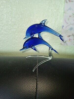 3 Glass Ornaments - Pair Of Dolphins - Owl And Pink Swan  • 9.99£