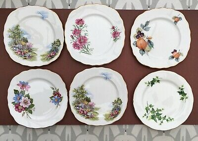 JOB LOT X6 PRETTY ROYAL VALE CHINA SIDE PLATES - VINTAGE FLORAL COTTAGE GILDED A • 15£