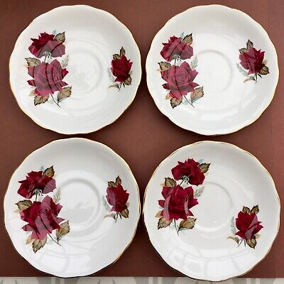 ROYAL VALE SAUCERS X4 RED ROSES VINTAGE FLORAL GILDED CHINA • 14£