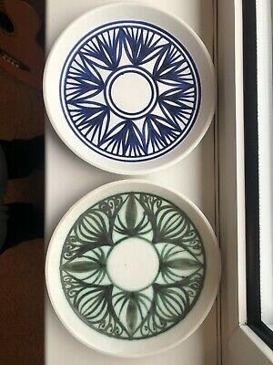 Jersey Pottery Art Plates X2 Green And Blue Excellent Condition • 10£