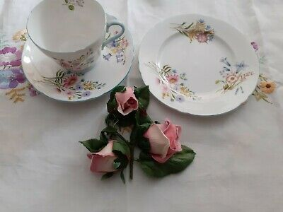 Pretty Vintage Shelly Wild Flowers,1 Breakfast Cup/saucer/ Plate.no 13668. • 10£