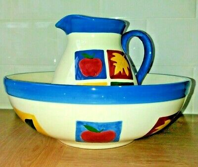Beautiful Bright Cream China Fruit Wash Bowl & Water Jug With Apples & Leaves • 14.99£
