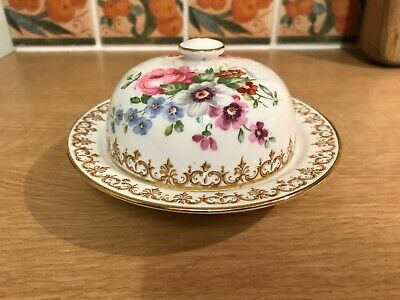 Crown Staffordshire Bone China Butter Dish - England's Bouquet • 20£