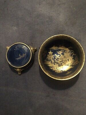 Vintage Large W.R CARLTON  Bowl And Stand  Royal Blue  And Gold Chinese Design • 10.50£
