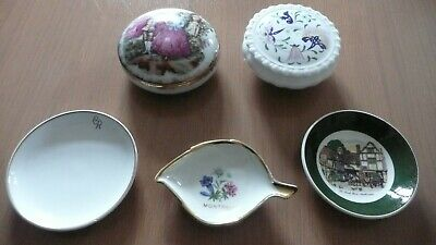 2 X Ceramic Trinkets And 3 Pin Dishes • 2£