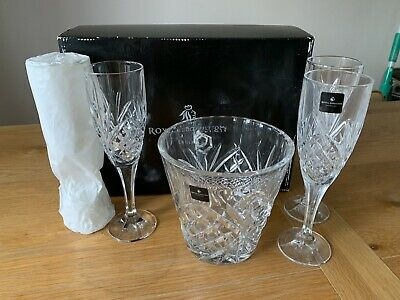 Royal Doulton Crystal Ice Bucket With 4 Champagne Flutes Set - Used Once Boxed • 16£